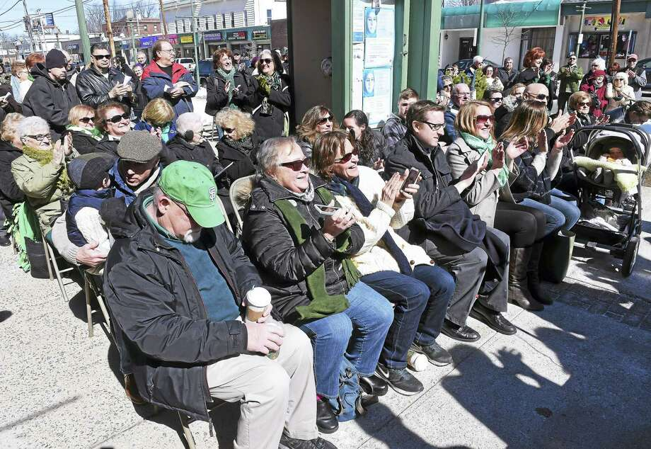A crowd packed the sidewalk outside of West Haven City Hall for the 26th Annual St. Patrick's Day Celebration. Photo: Arnold Gold — New Haven Register