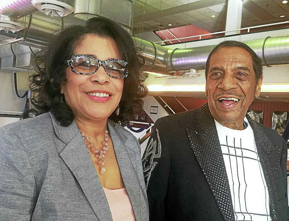"""Fred Parris, the New Haven-born founder of The Five Satins and composer of """"In The Still of the Night,"""" is photographed with his wife, Emma Parris, Saturday, April 8, 2017, at the Shubert Theatre in New Haven. Parris was honored following a performance of """"Dirty Dancing,"""" which features his song. Photo:  (Mark Zaretsky — New Haven Register)"""