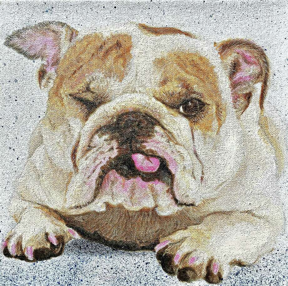 """Gayle Caro's painting """"A Bulldog's Life"""" is part of the exhibition """"Art 4 Paws"""" at the Milford Arts Council (40 Railroad Ave. S. in Milford) opening June 29 and running through Aug. 24. Photo: Contributed"""