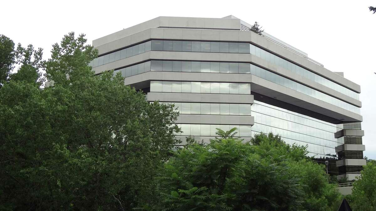 The headquarters building of Frontier Communications at 401 Merritt 7 in Norwalk, Conn.