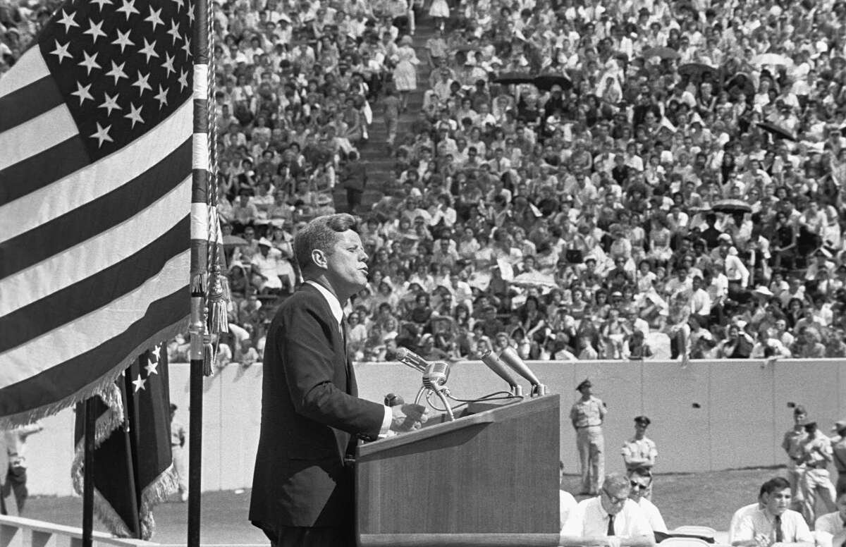 President Kennedy gives his 'Race for Space' speech at Houston's Rice University. Texas, September 12, 1962.
