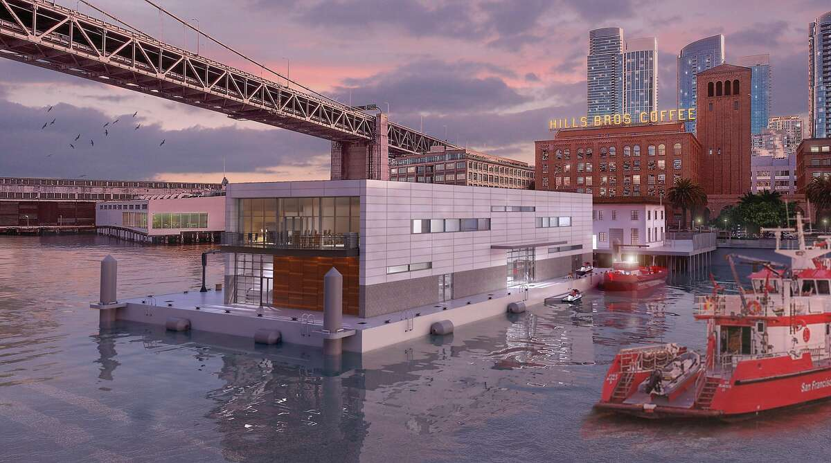 A rendering showing the proposed fireboat station at Pier 22.5, which would be located on moored barge off the Embarcadero. The design by Shah Kawasaki Architects was selected after a competition held by the San Francisco Department of Public Works. The $39 million facility would be built by the Swinerton/Power joint venture team.