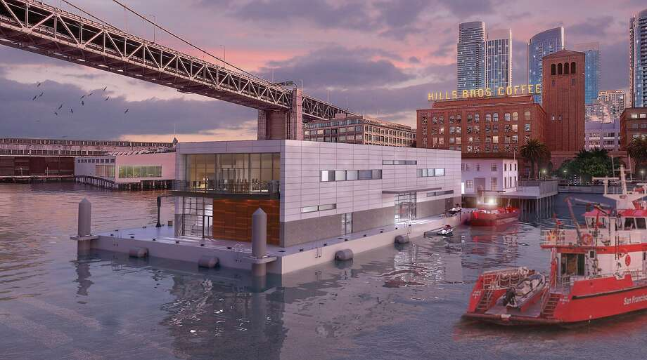 A rendering showing the proposed fireboat station at Pier 22.5, which would be located on moored barge off the Embarcadero. The conceptual design by Shah Kawasaki Architects includes a second-floor dining area at the rear for the fire crews on duty. The target completion date, if approved, is the summer of 2020. Photo: Shah Kawasaki Architects