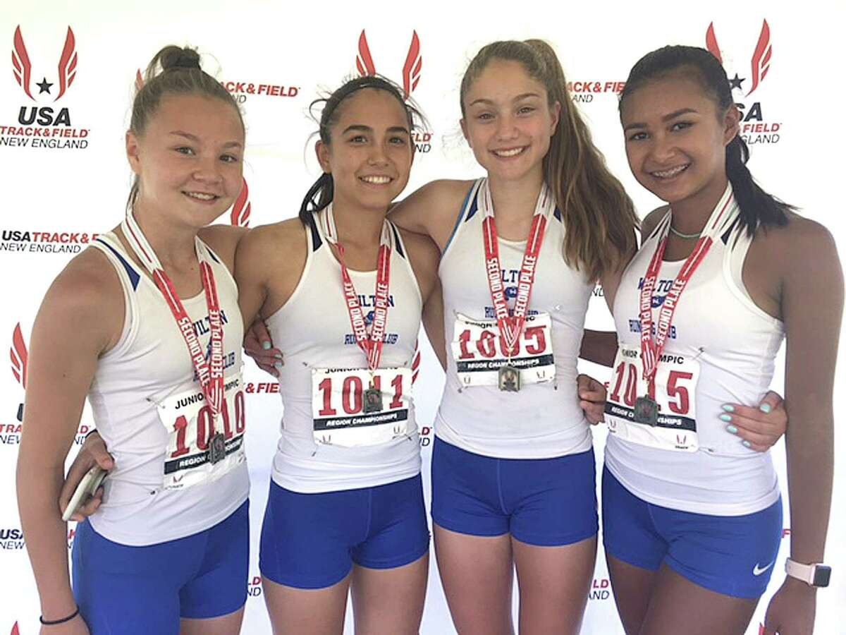 The Wilton Running Club 4x100 relay team of, from left, Ashley Nicoletti, Abby Ota, Shelby Dejana, and Elena Tan qualified for the Junior Olympics nationals.