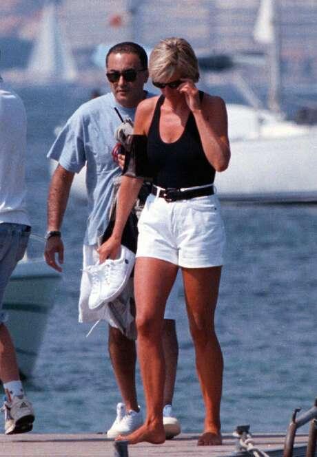 Diana Princess Of Wales And Her Companion Dodi Fayed Walk On A Pontoon