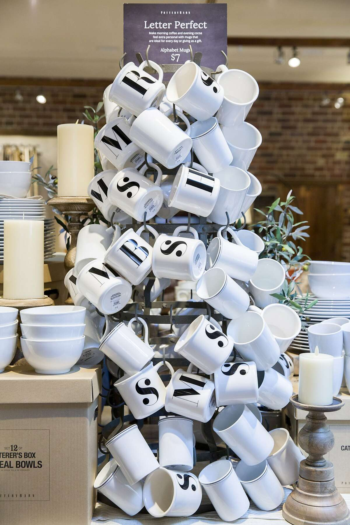 The cups for sale at the Pottery Barn on Tuesday, Aug. 1, 2017, in Corte Madera, Calif.