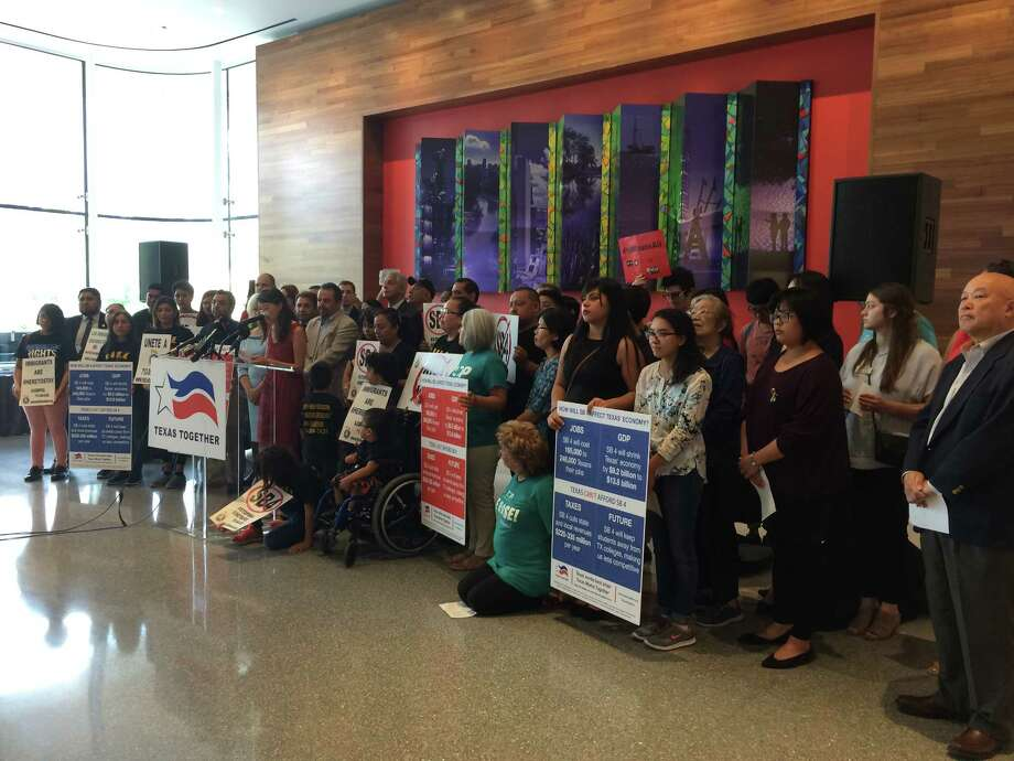 """Business leaders, city officials and immigration advocacy groups spoke out Tuesday against the """"sanctuary cities"""" bill. Photo: Ileana Najarro"""