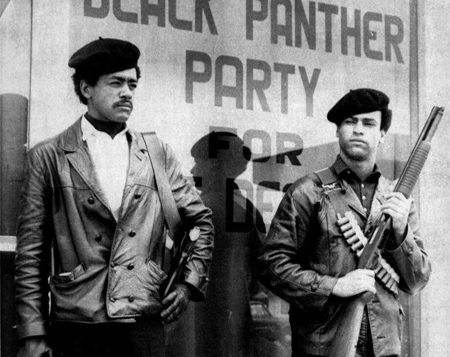 Black Panther national chairman Bobby Seale and  defense minister Huey Newton in San Francisco. Associated Press