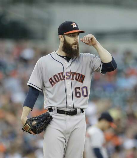Houston Astros starting pitcher Dallas Keuchel stands on the mound during the third inning of a baseball game against the Tigers on July 28, 2017, in Detroit. Photo: Carlos Osorio /Associated Press / Copyright 2017 The Associated Press. All rights reserved.