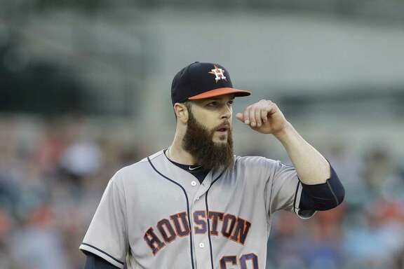 Houston Astros starting pitcher Dallas Keuchel stands on the mound during the third inning of a baseball game against the Tigers on July 28, 2017, in Detroit.