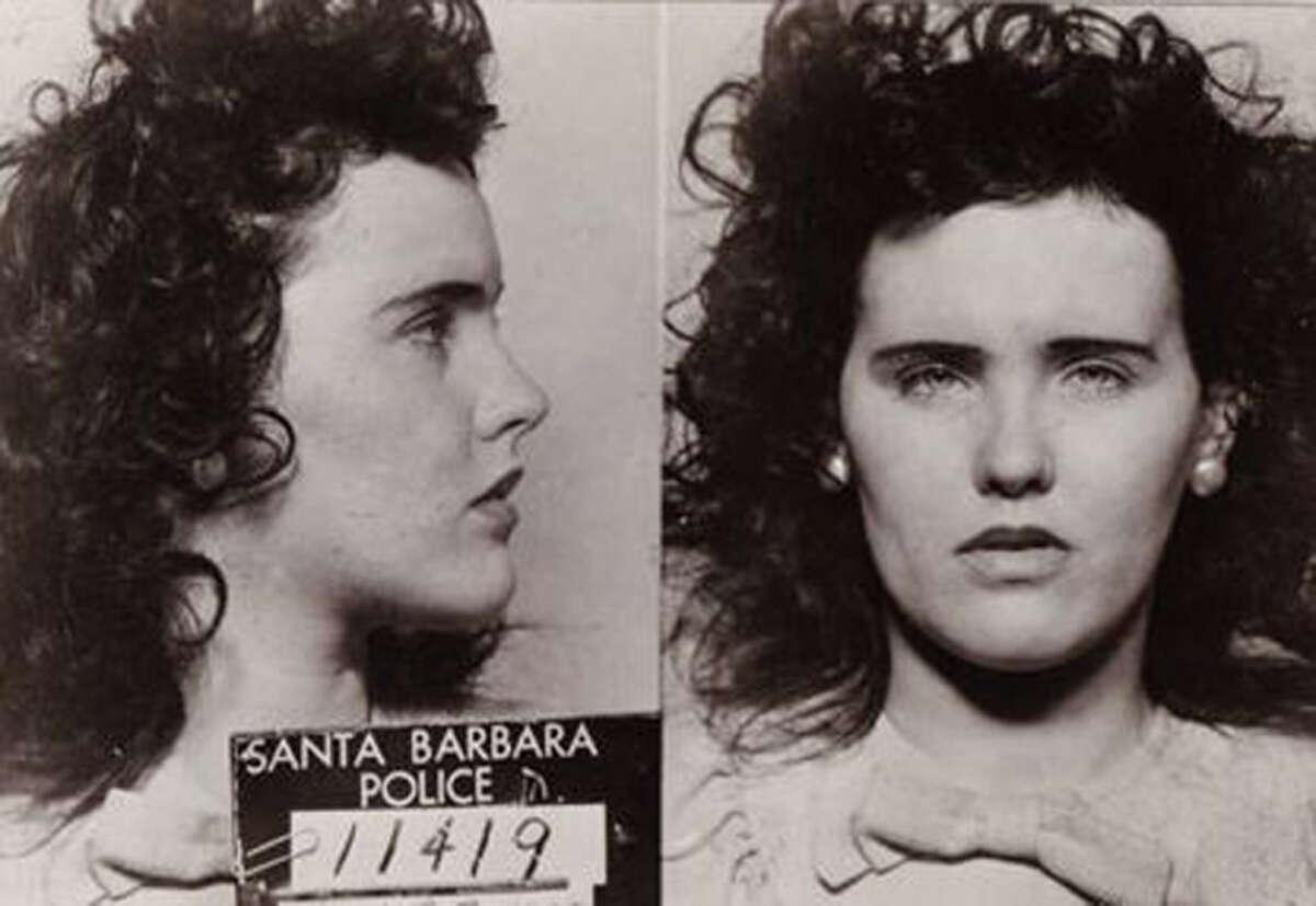 "Mugshot taken of Elizabeth Short ""The Black Dahlia"" in 1943 for underage drinking. 23 September 1943 Wikipedia"