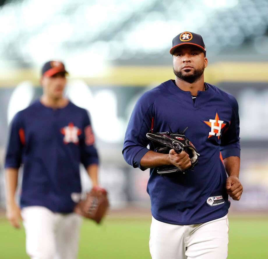 Houston Astros newly acquired relief pitcher Francisco Liriano (35) during batting practice before the start of an MLB game at Minute Maid Park, Tuesday, Aug. 1, 2017, in Houston. Photo: Karen Warren, Houston Chronicle / @ 2017 Houston Chronicle