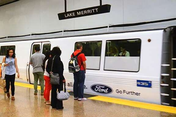 BART train advertising wraps sponsored by Ford Motors.