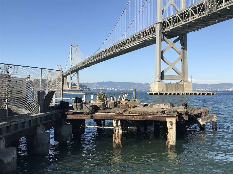 This remnant of a long-unused pier, and the water to the north, would be the site of a floating fire station behind it under a plan now being pursued by San Francisco's Department of Public Works. Photo: John King, The Chronicle