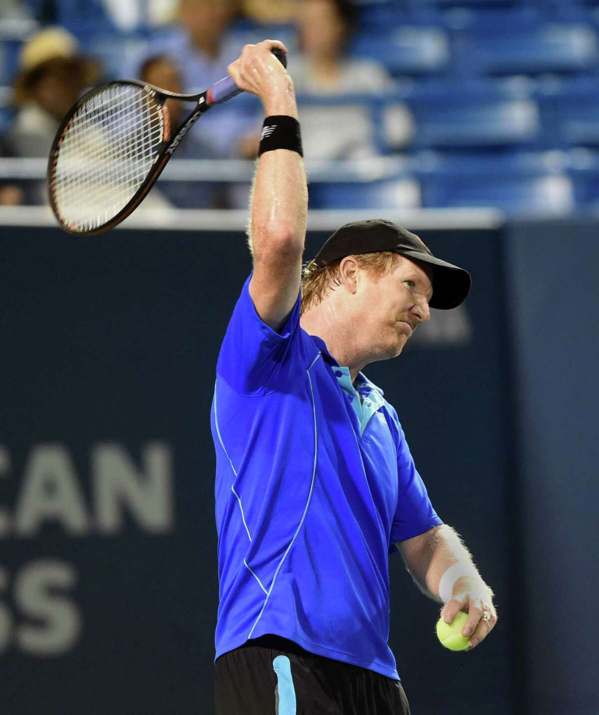 (Melanie Stengel - Register) Jim Courier \pretends to be angry as he challenges a call by a line judge during his match with James Blake 8/20.