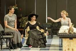 "From left, Rebecca Henderson, Cristin Milioti and Tavi Gevinson play Chekhov's three sisters in ""Moscow, Moscow, Moscow, Moscow, Moscow, Moscow."" (WTF publicity photograph by Daniel Rader.)"