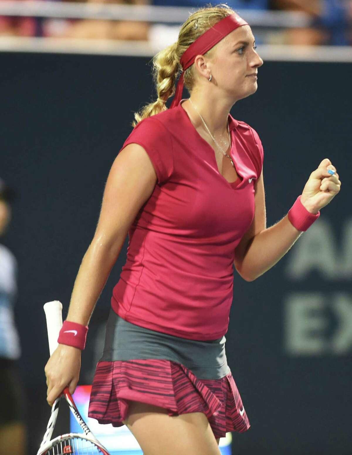 (Melanie Stengel - Register) Connecticut Open Tennis -Petra Kvitova reacts to winning her match 8/19.