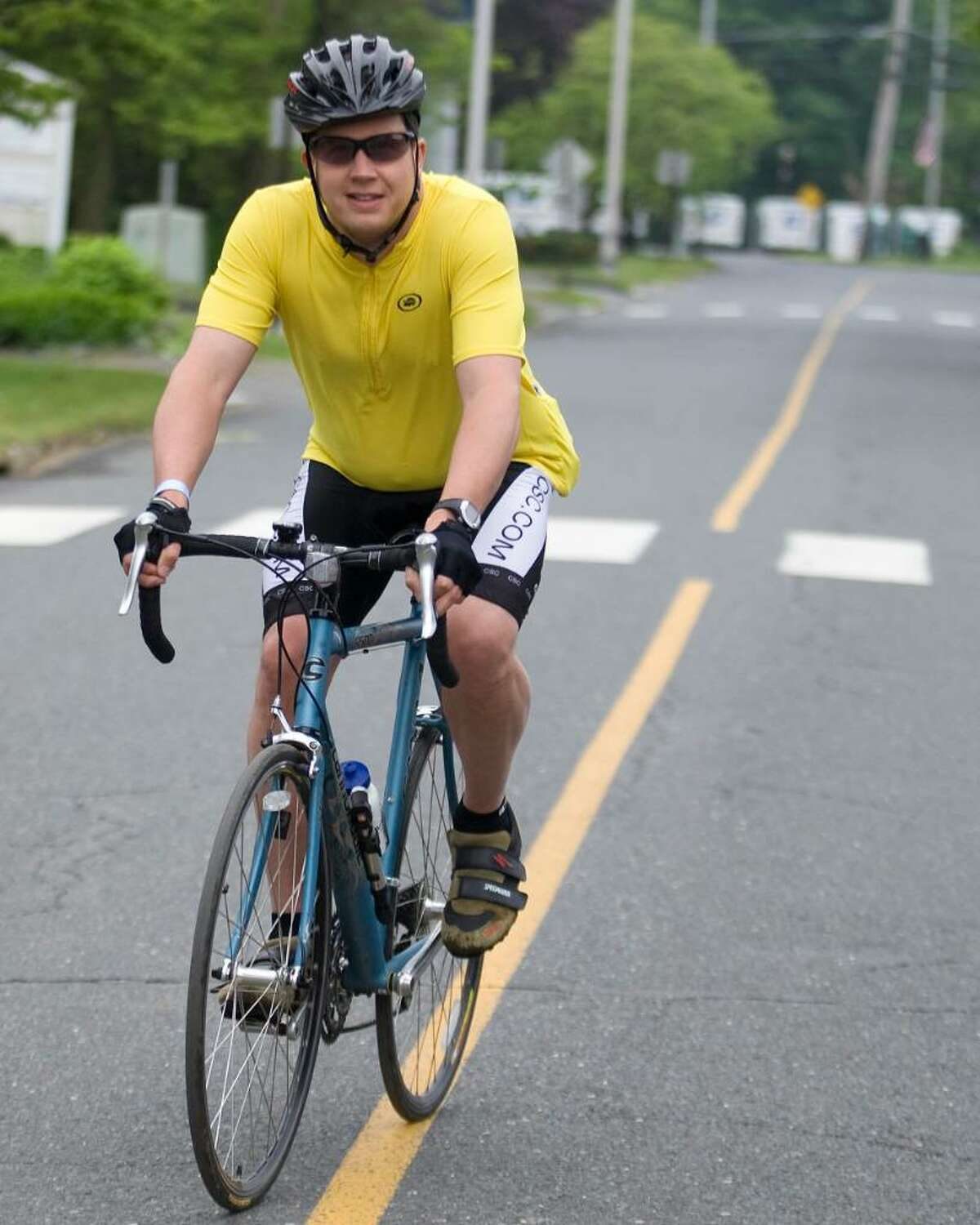 New Fairfield resident Marty Boardman takes off on a 51 mile ride during the 18th annual Cyclefest held by the Hat City Cyclists which started and ended in Bethel Sunday.