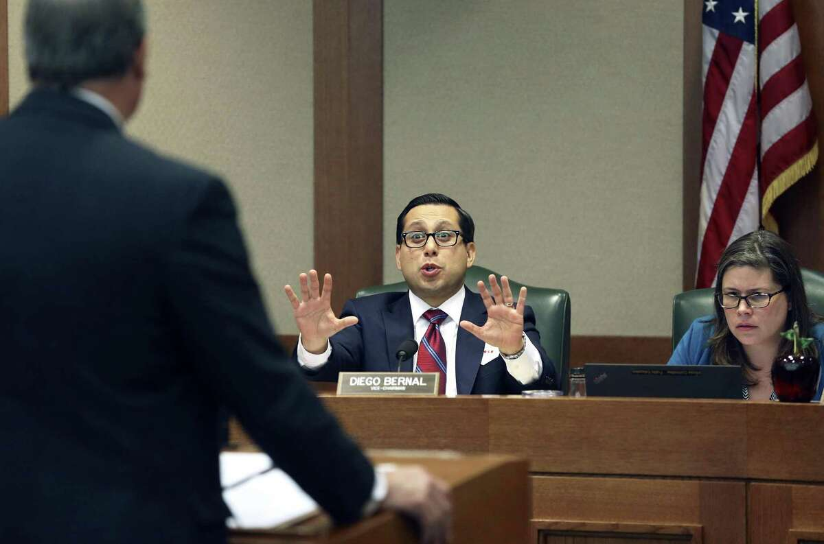 State Rep. Diego Bernal, D-San Antonio, questions a witness on matters of teacher pay during a Public Education Committee hearing Tuesday.