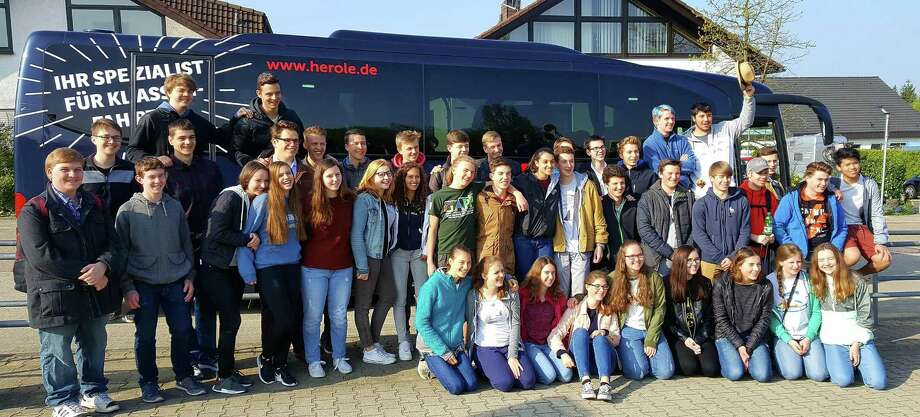 Numerous New Milford High School students traveled to Germany in March, then welcomed students from Germany through the German American Partnership Program. New Milford students are shown above with their German peers. NMHS students are Joe Alexander, Jacob Berendsohn, Taylor Briggs, Stephanie Cafiero, Lee Conlu, Darcy Cook, Duncan Edel, Karley Greene, Caitlin Jellen, Lukas Kugler, Thomas Lebert, Ryan Logan, Jacob Meadows, Emma Norcross, Sunita Pfitzner, Eleanor Steiger, Aiden Szymczakowski, Samuel Taub, Madelyn Thorp, Daniel Whelan, Gregory Winkelstern and Peter Wunderlich. Francesca Anderson and Emily Spagnuolo area not pictured but served as hosts. Photo: Courtesy Of New Milford High School / The News-Times Contributed