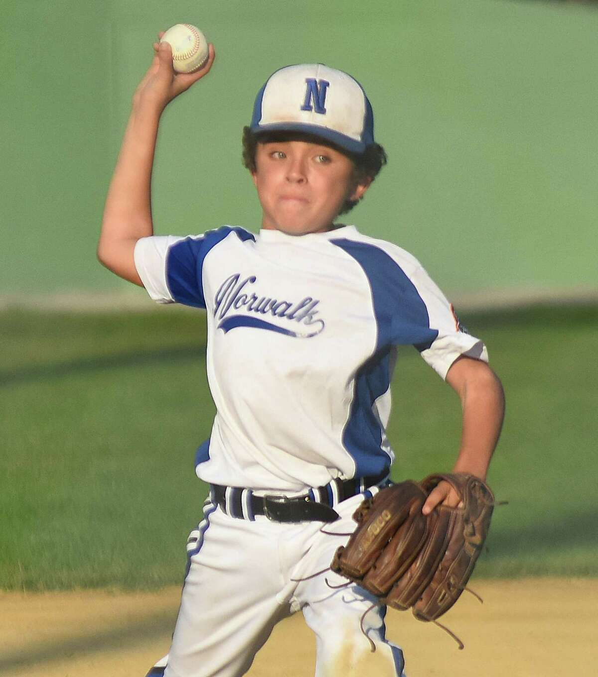 Norwalk pitcher Cam Rice fires to the plate during Tuesday's Cal Ripken Baseball 9-year-old New England Regional Tournament quarterfinal in Freetown, Mass. Norwalk defeated Cranston, R.I., to advance to the semifinals.