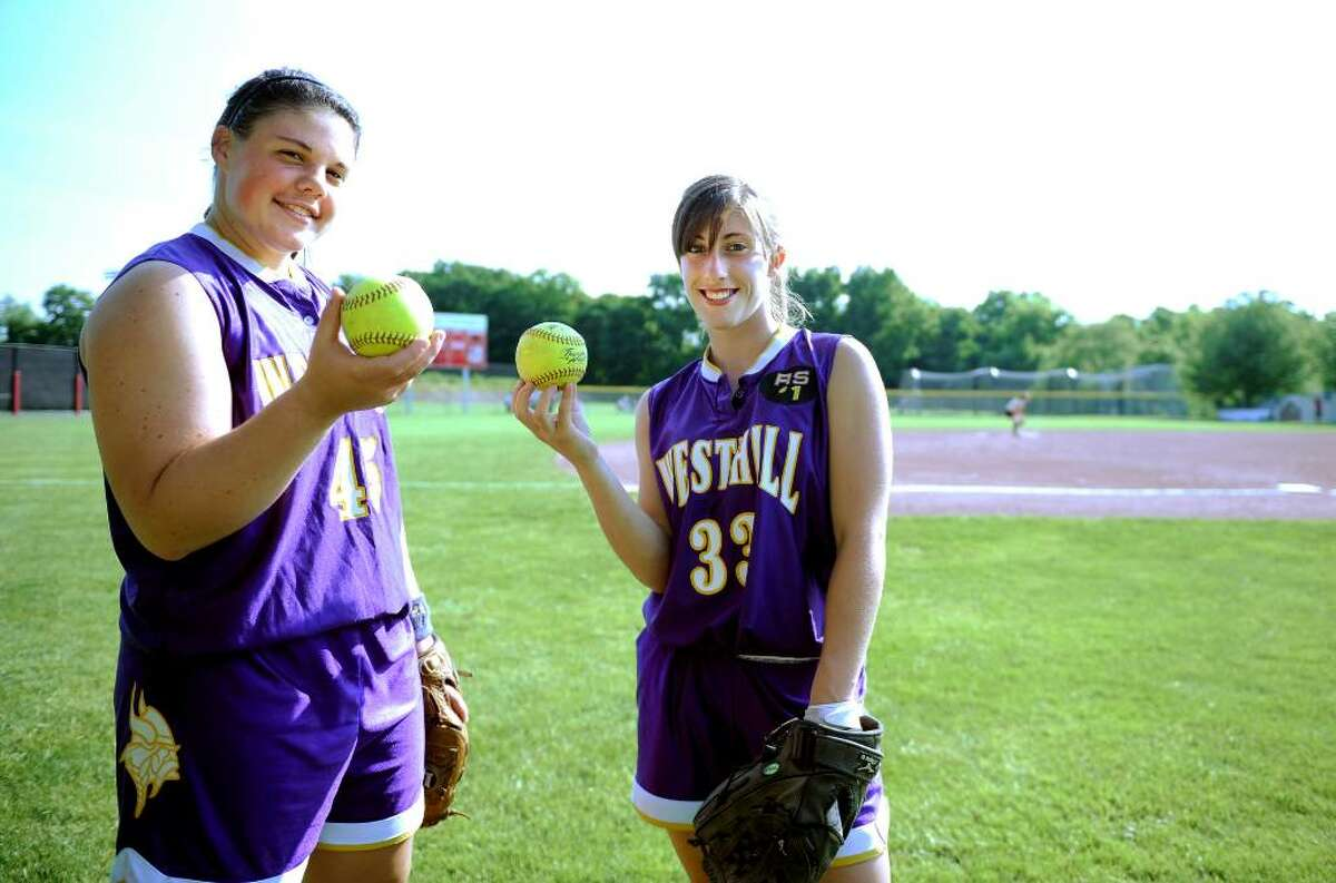 Westhill pitcher Jenn Joseph, left, and shortstop Julianne Vincent pose for a photo before the FCIAC Softball Championship game against Trumbull Thursday May 27, 2010 at Sacred Heart University in Fairfield.