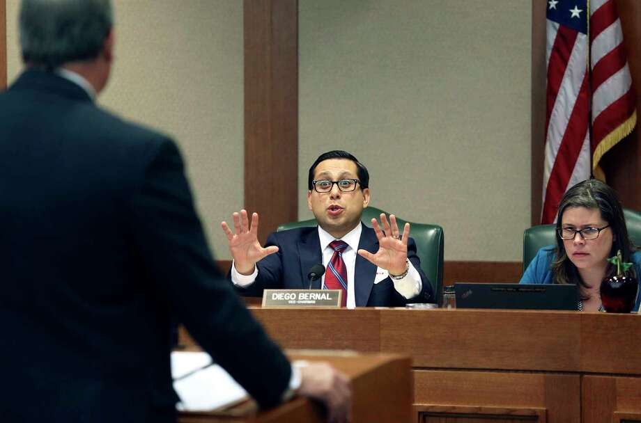 Rep. Diego Bernal , center, questions a witness on matters of teachers' pay during the Public Education Committee hearings on Tuesday. Education bills must advance out of the committee before they can be voted on by the full House. Photo: Tom Reel, Staff / 2017 SAN ANTONIO EXPRESS-NEWS