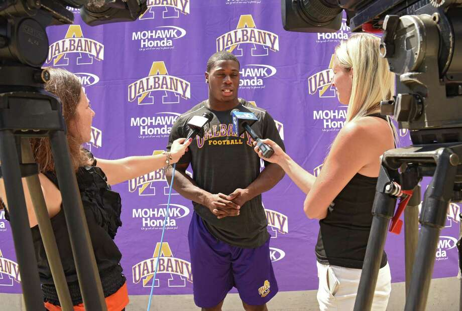 University at Albany running back Elijah Ibitokun-Hanks talks with reporters during UAlbany football media day at University at Albany on Tues. Aug. 1, 2017 in Albany, N.Y. (Lori Van Buren / Times Union) Photo: Lori Van Buren / 20041162A