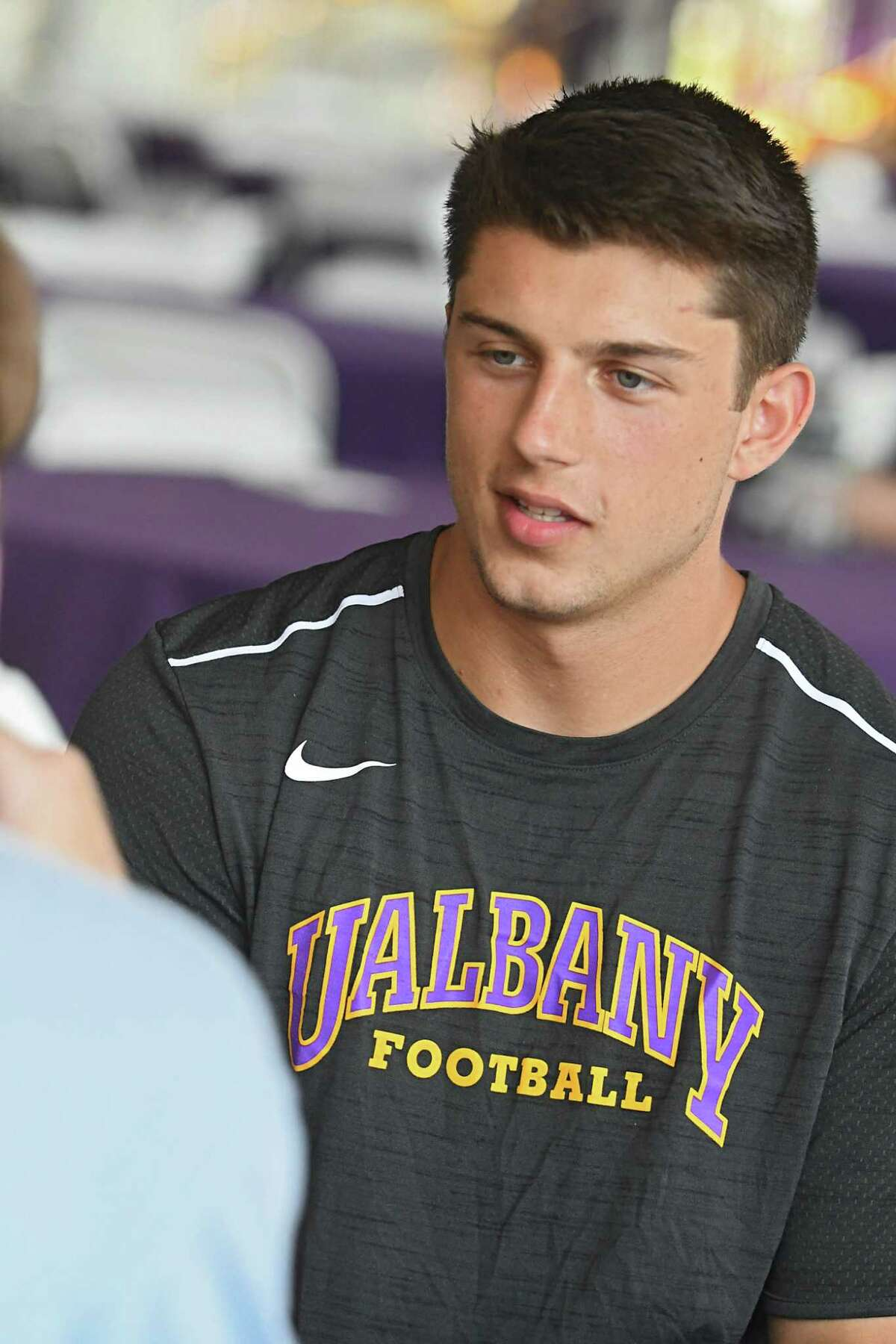 University at Albany quarterback Neven Sussman talks with a reporter during UAlbany football media day at University at Albany on Tues. Aug. 1, 2017 in Albany, N.Y. (Lori Van Buren / Times Union)