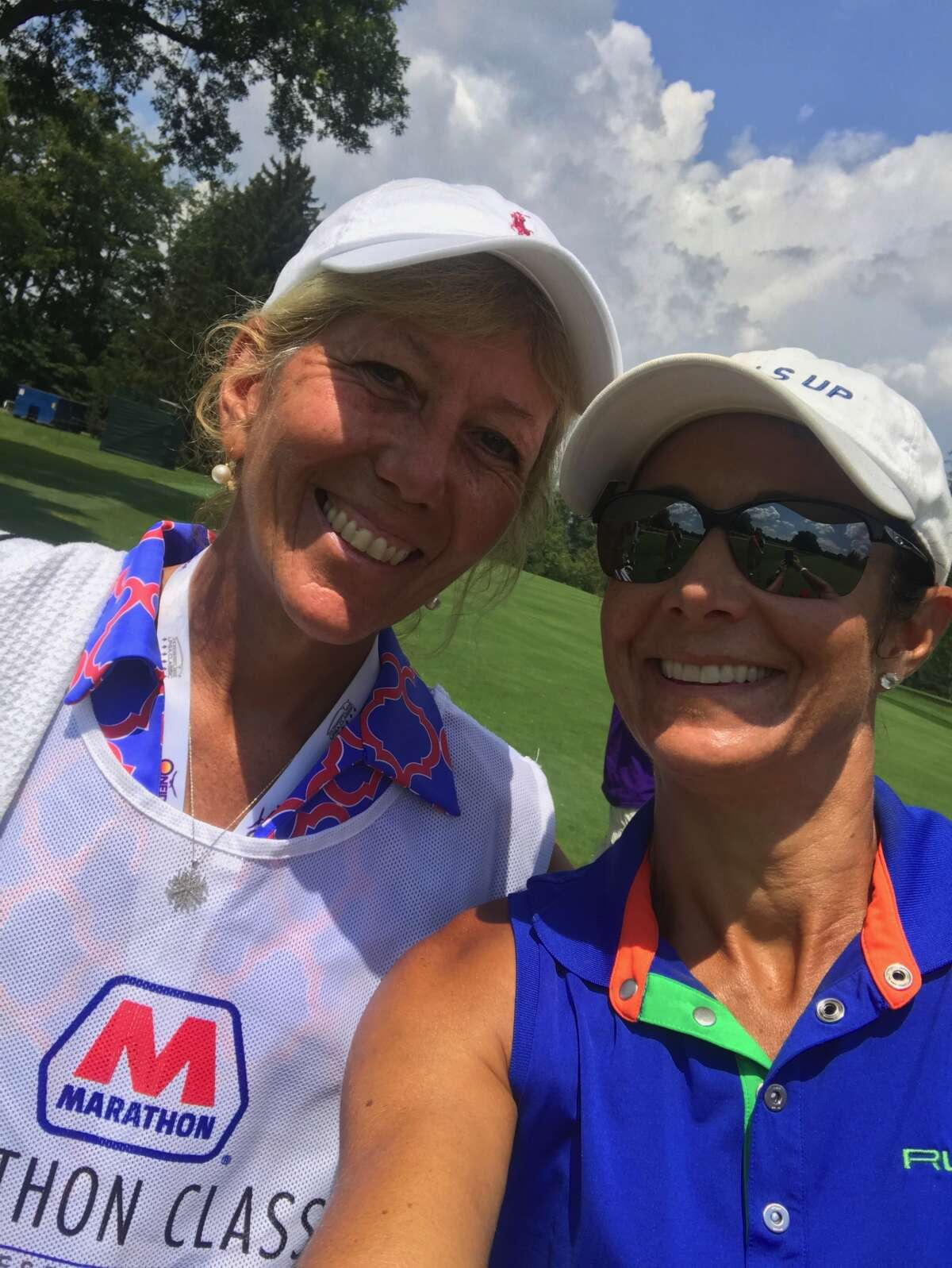 LPGA golfer Laura Diaz, right, and her new caddy Susan Bond teamed up for a tied for 20th finish at Highland Meadows Golf Club in Ohio on July 23, 2017. Diaz qualified to play in the British Open.