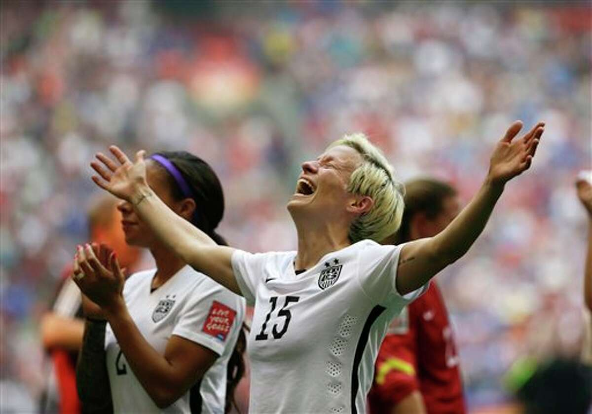United States' Megan Rapinoe celebrates after the U.S. beat Japan 5-2 in the FIFA Women's World Cup soccer championship in Vancouver, British Columbia, Canada, Sunday, July 5, 2015.
