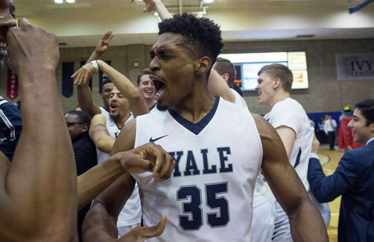 Yale forward Brandon Sherrod (35) celebrates the win at the end of the second half of an NCAA Ivy League Conference basketball game Saturday, March 5, 2016, in New York. Yale beat Columbia 71-55.