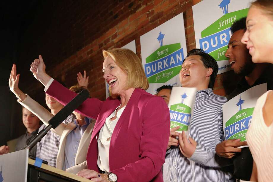 Seattle mayoral candidate Jenny Durkan and her supporters celebrate her first-place position in the primary as returns come in Tuesday, Aug. 1, 2017. Photo: GENNA MARTIN, SEATTLEPI.COM / SEATTLEPI.COM