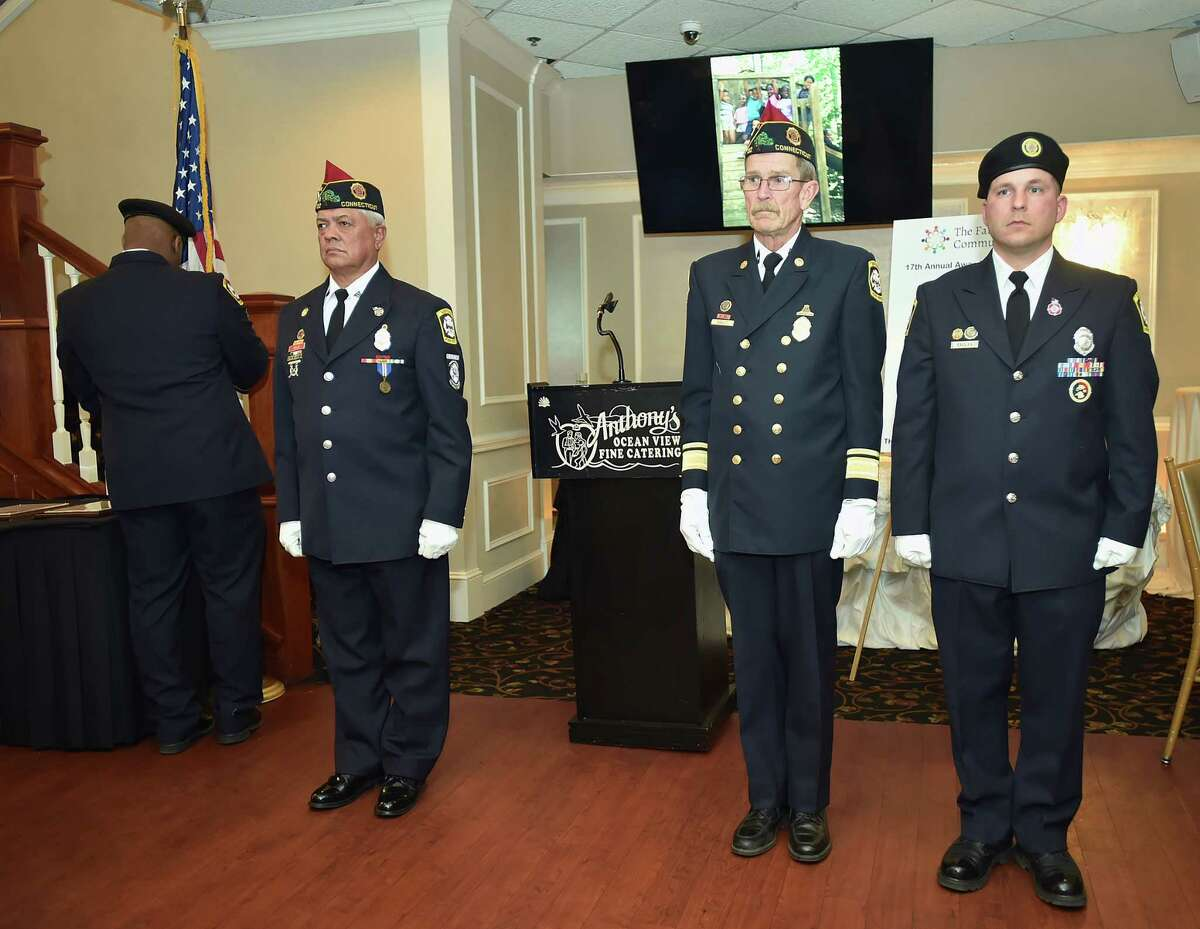 John Courtmanche, a former New Haven Public Schools principal and New Haven Firefighters Local 825 were honored at the Farm Neighborhood House 17th annual awards dinner, Tuesday, May 9, 2017, at Anthony's Ocean View in New Haven. (Catherine Avalone - New Haven Register)