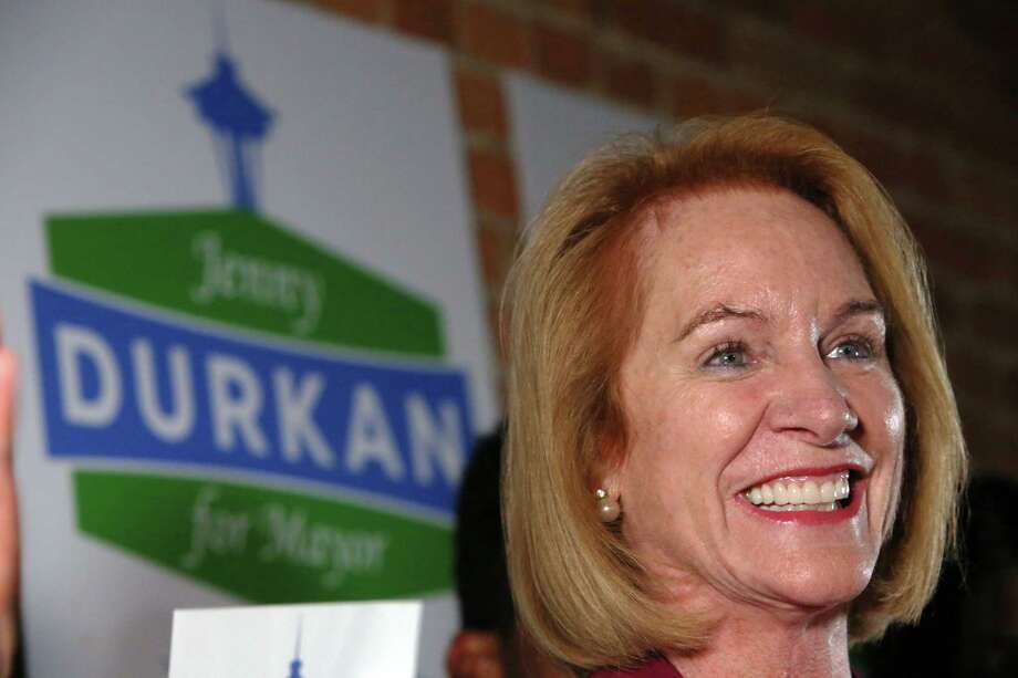 Seattle Mayoral candidate Jenny Durkan and her supporters celebrate her first place position in the primary race, as returns come in Tuesday, Aug. 1, 2017. Photo: GENNA MARTIN, SEATTLEPI.COM / SEATTLEPI.COM