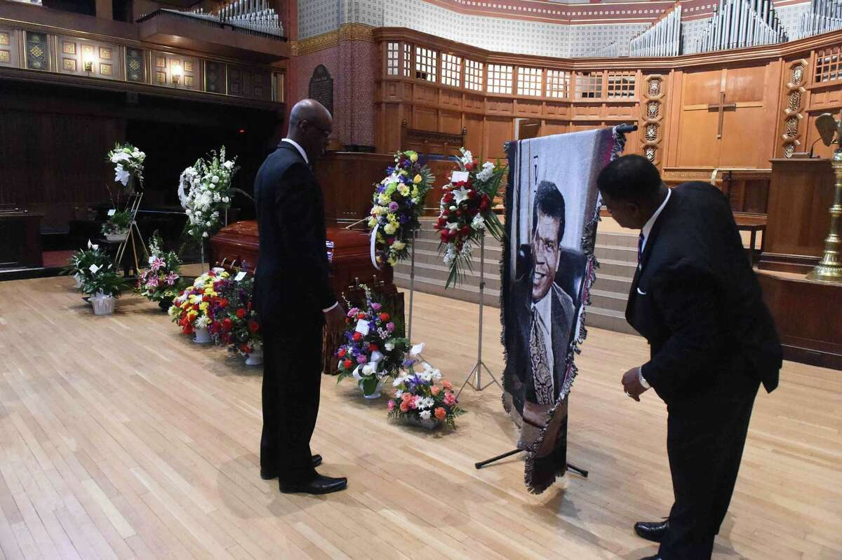 (Peter Hvizdak - New Haven Register) Viewing and funeral service for former New Haven Mayor John C. Daniels at Battell Chapel at Yale University in New Haven Friday morning, March 20, 2015. Daniels served as New Haven mayor from 1990 - 1993.