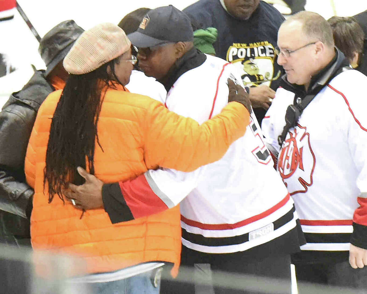 (Peter Hvizdak - New Haven Register) 2015 Chiefs Cup Hockey Game between the NHFD vs. NHPD at Yale's Ingalls Rink in New Haven Saturday, March 28, 2015.