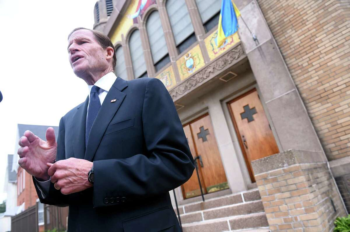 U.S. Senator Richard Blumenthal speaks with the press outside of St. Michael's Ukrainian Church on George St. in New Haven about the situation in Eastern Ukraine on 8/3/2014. Photo by Arnold Gold/New Haven Register agold@newhavenregister.com