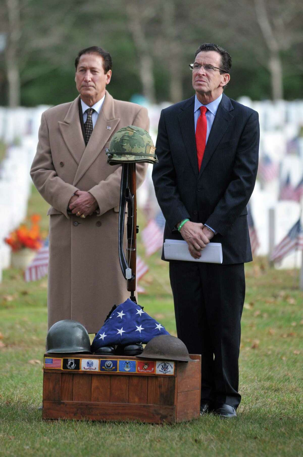 Councilman Tom Serra and Gov. Dannel P. Malloy at the Veterans Day ceremony Monday afternoon at the State of Connecticut Veterans' Cemetery at 317 Bow Lane in Middletown. Catherine Avalone - The Middletown Press