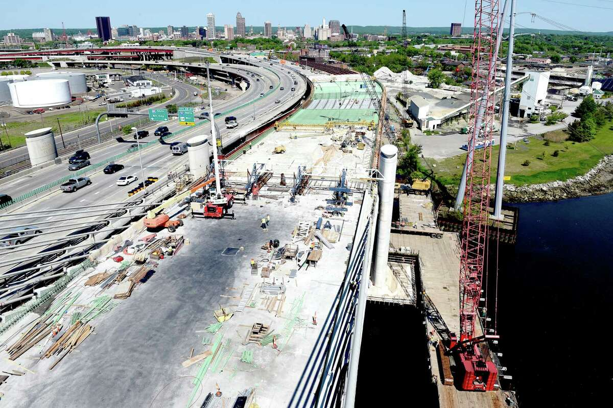 Construction on the southbound section of the Pearl Harbor Memorial Bridge in New Haven on 5/22/2015. Photo by Arnold Gold/New Haven Register agold@newhavenregister.com