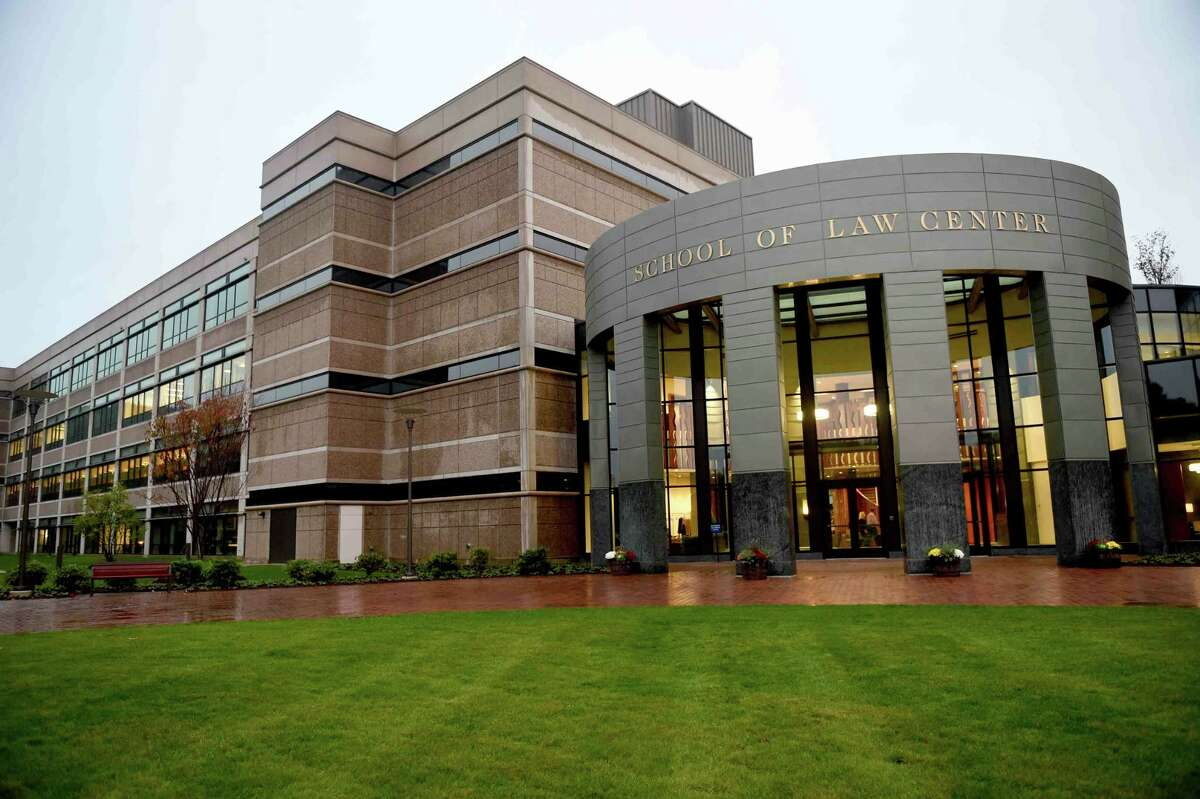 (Peter Hvizdak - New Haven Register) Front Entrance of the new Quinnipiac University School of Law Center on the university's North Haven campus Tuesday evening, October 1, 2014