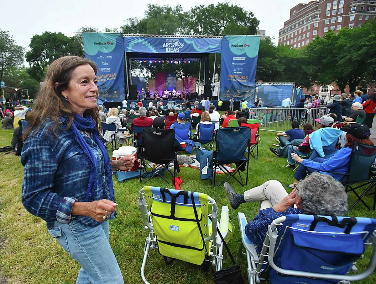 New Haven resident Amy Lehrer dances to the soulful Latin sounds of Fulaso, a 10-piece multi-cultural band led by vocalist Erica Ramos perform sixties and seventies classics, Saturday, June 17, 2017, at the International Festival of Arts & Ideas on the New Haven Green. (Catherine Avalone / Hearst Connecticut Media)