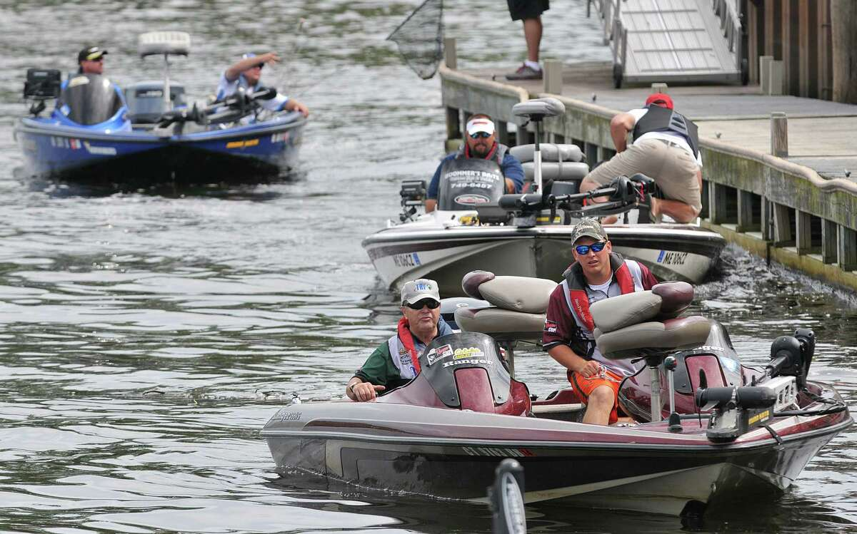 Anglers competing in The Bass Federation Eastern Division Championship on the Connecticut River at Harbor Park in Middletown Friday afternoon head to the dock Friday afternoon on the final day of competition. Catherine Avalone - The Middletown Press