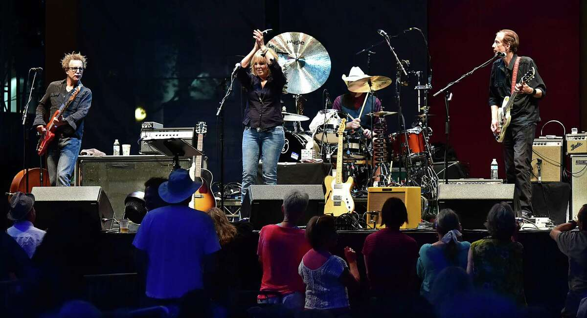 Grammy award winner Lucinda Williams performs in front of thousands of concert-goers at the International Festival of Arts & Ideas on the New Haven Green, Friday, June 26, 2015. (Catherine Avalone/New Haven Register)