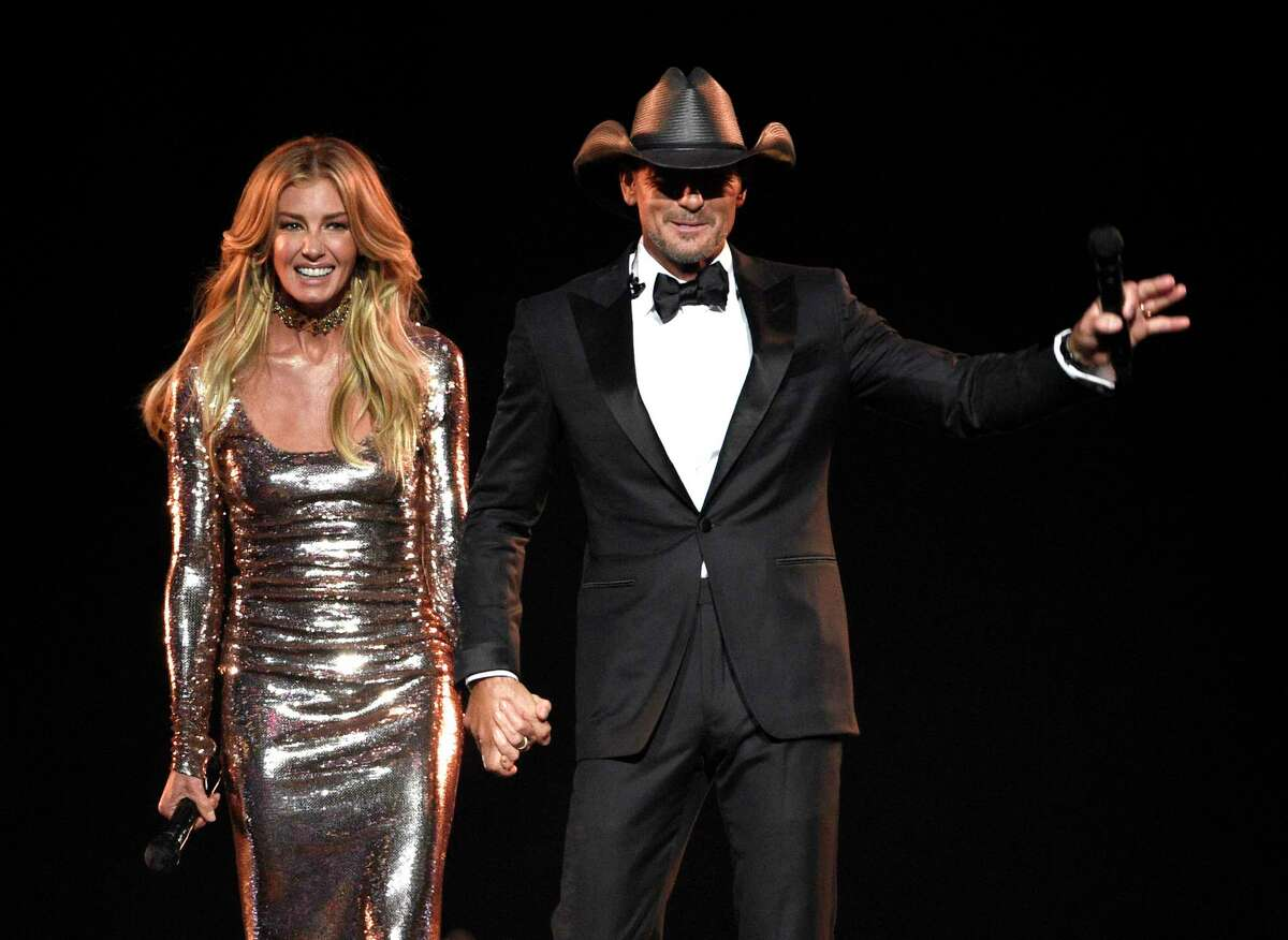 Faith Hill, left, and Tim McGraw appear after a performance at the 52nd annual Academy of Country Music Awards at the T-Mobile Arena on Sunday, April 2, 2017, in Las Vegas.