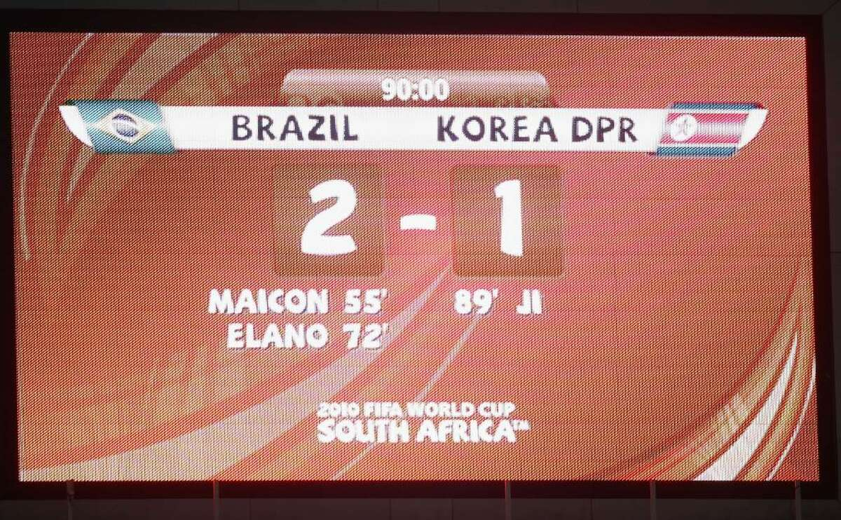 JOHANNESBURG, SOUTH AFRICA - JUNE 15: The scoreboard after the 2010 FIFA World Cup South Africa Group G match between Brazil and North Korea at Ellis Park Stadium on June 15, 2010 in Johannesburg, South Africa. (Photo by Phil Cole/Getty Images)