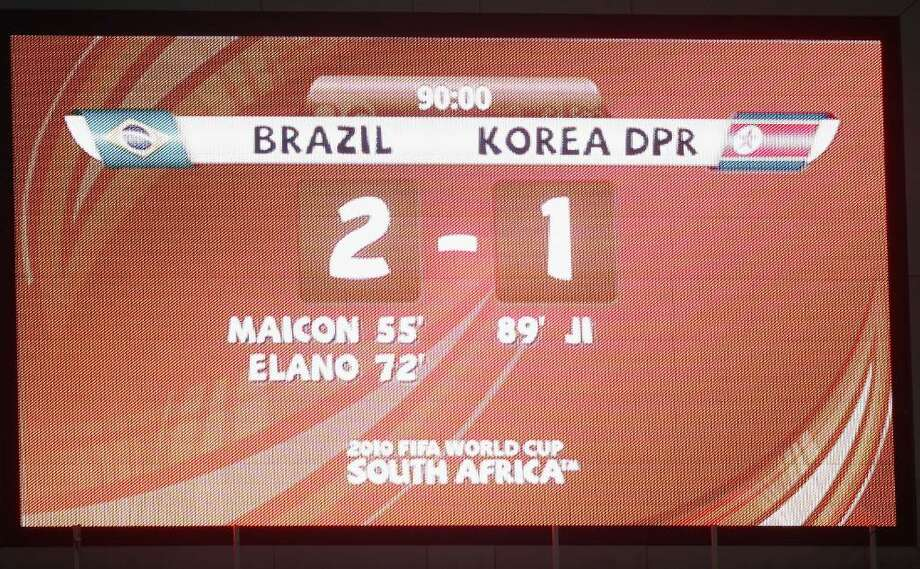 JOHANNESBURG, SOUTH AFRICA - JUNE 15:  The scoreboard after the 2010 FIFA World Cup South Africa Group G match between Brazil and North Korea at Ellis Park Stadium on June 15, 2010 in Johannesburg, South Africa.  (Photo by Phil Cole/Getty Images) Photo: Phil Cole, Getty Images / 2010 Getty Images