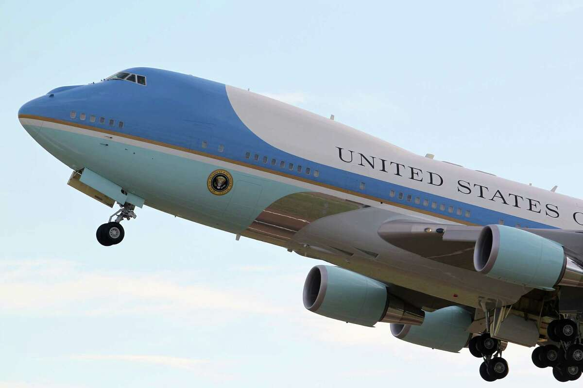 Air Force One, with President Barack Obama aboard, takes off from Norman Manley International Airport in Kingston, Jamaica, Thursday, April 9, 2015. Obama was in Jamaica for a two day visit and is traveling to Panama for the Summit of the Americas that starts Friday.