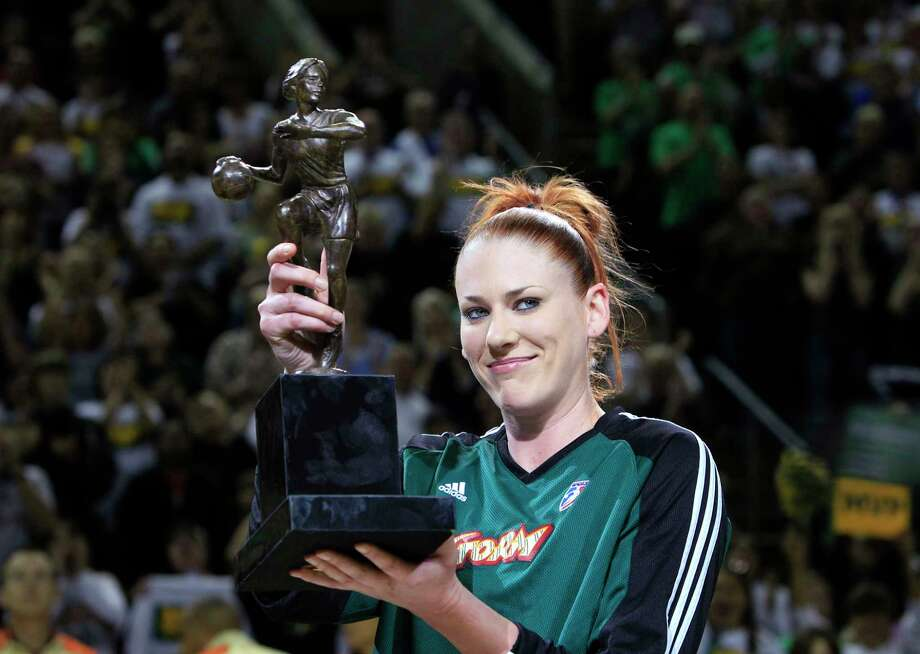 Seattle Storm's Lauren Jackson holds the MVP tropy before the opening game of the WNBA basketball Western Conference finals against the Phoenix Mercury, Thursday, Sept. 2, 2010, in Seattle. Photo: Elaine Thompson, AP / AP