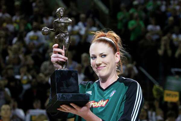 Seattle Storm's Lauren Jackson holds the MVP tropy before the opening game of the WNBA basketball Western Conference finals against the Phoenix Mercury, Thursday, Sept. 2, 2010, in Seattle.